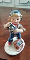 Gerhard Skrobek Goebel Fiú kamerával porcelán figura Hummel