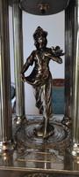 Art Deco Szecesszió, kínáló Asztalközép,szobor középen.Bronz Art Deco Szecesszió hölgy galamb!