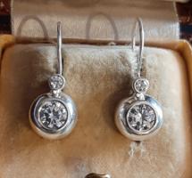 Ezüst dupla button fülbevaló patentzárral