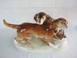 Royal Dux nagy méretű porcelán kutya pár