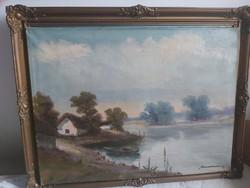 BENEDEK GYÖRGY: Vízparti házikó (olaj, 60x80) tóparti tájkép csónakkal, Bernáth Aurél tanítványa