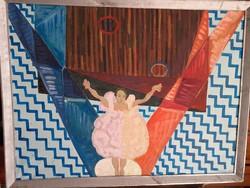 Orosz Rea: Balerina (olaj-vászon 83x62) táncos női portré, emberalak, ornamentikus - kortárs festőnő