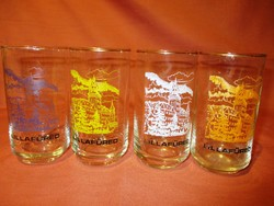 4 db retro üveg pohár - Lillafüred