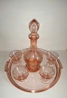 Likőrös italos üveg készlet kiöntővel tálcával 4 db pohárral (5/K)