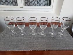 6 db kristály aranyozott pohár