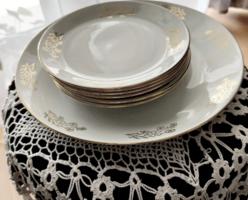 MZ Cseh porcelán süteményes készlet,  arany szegélyes, búzavirágos, 7 db os, jelzett, vitrin minőség