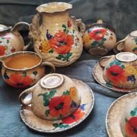 Antik kézzel festett pipacsos teás kèszlet vázával