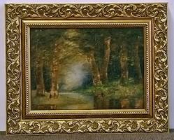 Erdő mélyén, antik festmény, olaj karton, kerettel 37 x 45 cm, jjl.