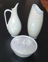 Hollóházi porcelán készlet (kancsó, váza, cukortartó)