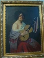 Zombory jelzéssel: (spanyol) cigánylány gitárral