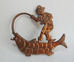 Bronzírozott Öreg horgász zsákmánnyal falidísz
