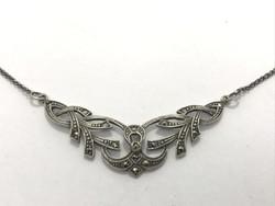 Antik ezüst nyakék markazittal
