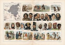 Ázsia népfajai, színes nyomat 1909, eredeti, 32 x 47, német nyelvű, etnográfia, nép, hindu, arab
