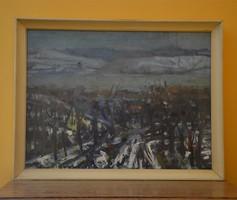 Uhrig Zsigmond - Téli táj c. olajfestmény
