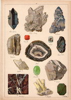 Ásvány (22), hegyi kristály, márvány, nemes opál, kvarc, ahát, litográfia 1899, eredeti, 24 x 34 cm