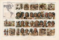 Amerika népfajai, színes nyomat 1909, eredeti, 32 x 47, német nyelvű, etnográfia, nép, indián, napo