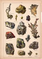 Ásvány (20), ezüst, arany, platina, termés réz, azurit, arzén, litográfia 1899, eredeti, 24 x 34 cm