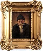 Pipázó öreg paraszt jelzett Portré festmény