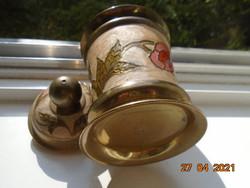 Rekeszzománc  kézzel készült virágmintákkal tömör réz/bronz fedeles fűszertartó, tároló