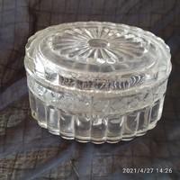 Régi vastag öntött üveg kínáló, bonbonier