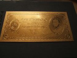 5 pengő aranyozott plasztik bankjegy