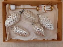 Régi üveg karácsonyfadísz  5-darab+1-fa Diótörő gyertyatartó egyben