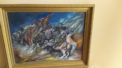 Fergeteges csatajelenet festmény