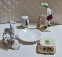 Porcelán csomag Zsolnay, Hollóházi, Royal Dux, Aquincum 4+1 ajándék