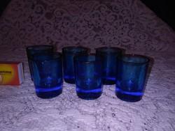 Hat darab régi, kék színű pálinkás, likőrös pohár