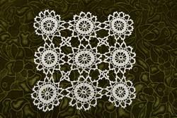 Horgolt csipke terítő kézimunka lakástextil dekoráció kis méretű terítő asztal közép 27 x 26 cm