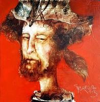 Győrfi András - Vörös fej 30 x 30 cm olaj, vászon