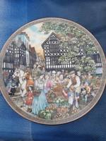 Angol jelenetes porcelán tányér