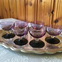 Lila színű  antik likőrös poharak