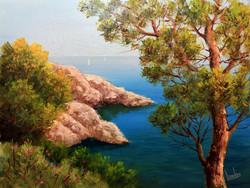 AKCIÓS ÁR! Lantos György: Sziklás part Dubrovniknál 30x40 cm