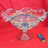 Régi Talpas Fodros Szélű Kék Üveg Asztalközép,Kínáló 25 x 18 cm