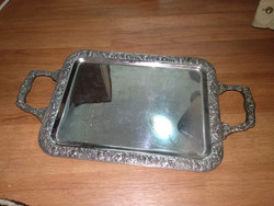 Vintage tükörfényes ezüst színű tálcs, vintage silver tone plate