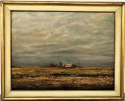 Gácsi Mihály (1926 - 1987) Borús nap c. Képcsarnokos festménye EREDETI GARANCIÁVAL !