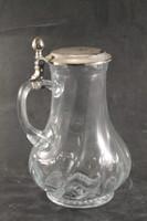 Antik ezüstözött fedelű üveg karaffa 120