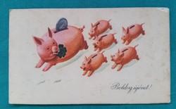 Régi,újévi mini üdvözlőkártya,képeslap