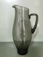 Füstszínű üvegből készült, kecses, ritka szép formájú retro kancsó