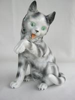 Lippelsdorfi nagy méretű  porcelán macska cirmos cica