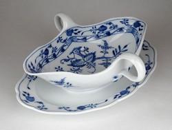 1E073 Antik kardos Meisseni hagymamintás kék fehér porcelán szószos tál
