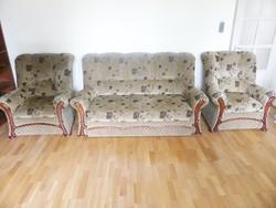 Ülőgarnitúra 3 részes, ággyá alakítható kanapéval