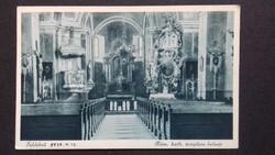 Régi képeslap - Feldebrő, Róm. kath. templom belseje (1935)