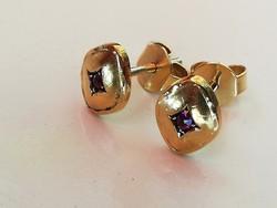Régi arany fülbevaló rubin kővel