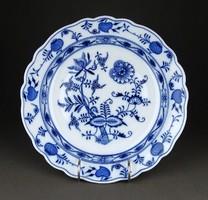 1E075 Régi Meisseni hagymamintás kék fehér porcelán kínálótál 28 cm
