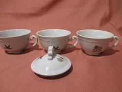 Zsolnay mesemintás kávés csésze és cukortartó fedél, tető