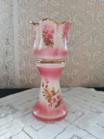 Eladó régi porcelán angol stadforshire rózsaszín virágos posztamens, váza, kaspó!