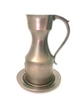 Marked royal dutch daalderop pweter shield crest tin jug with jug bowl