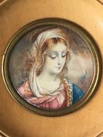 Antik Madonna Miniatűr Csont Tempera és Akvarell  XIX. sz. vége